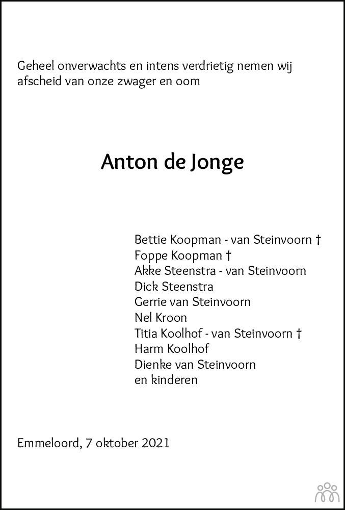 Overlijdensbericht van Anthonie (Anton) de Jonge in Noordoostpolder