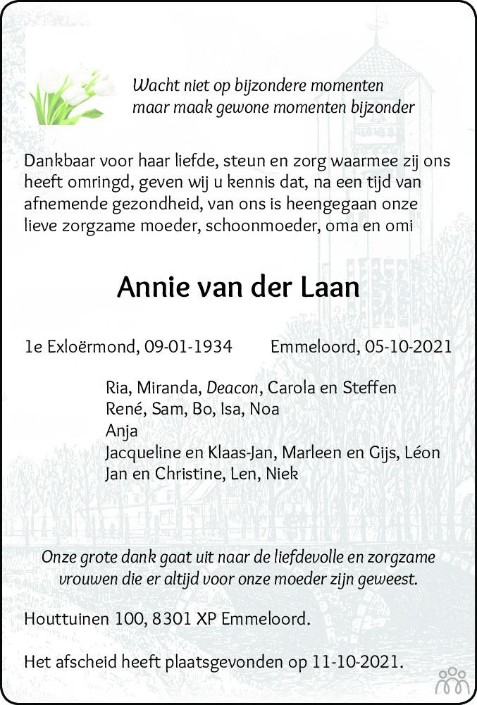 Overlijdensbericht van Annie van der Laan in Noordoostpolder