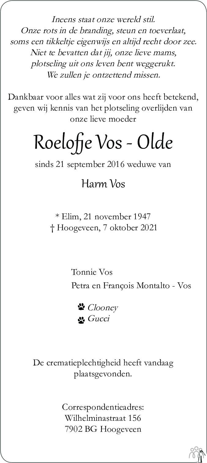 Overlijdensbericht van Roelofje Vos-Olde in Hoogeveensche Courant
