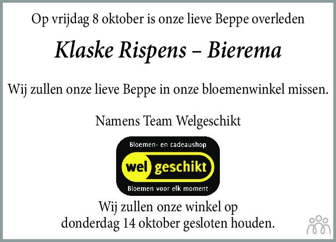 Overlijdensbericht van Klaske Rispens-Bierema in Franeker Courant