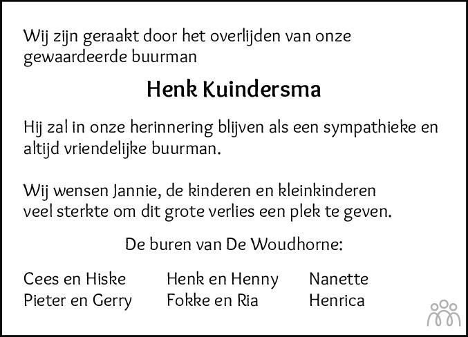 Overlijdensbericht van Henk Kuindersma in Dockumer Courant