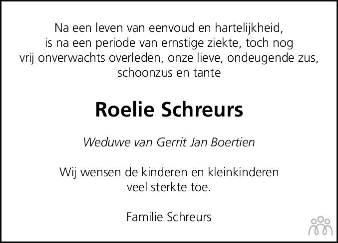 Overlijdensbericht van Roelie Boertien-Schreurs in Hoogeveensche Courant
