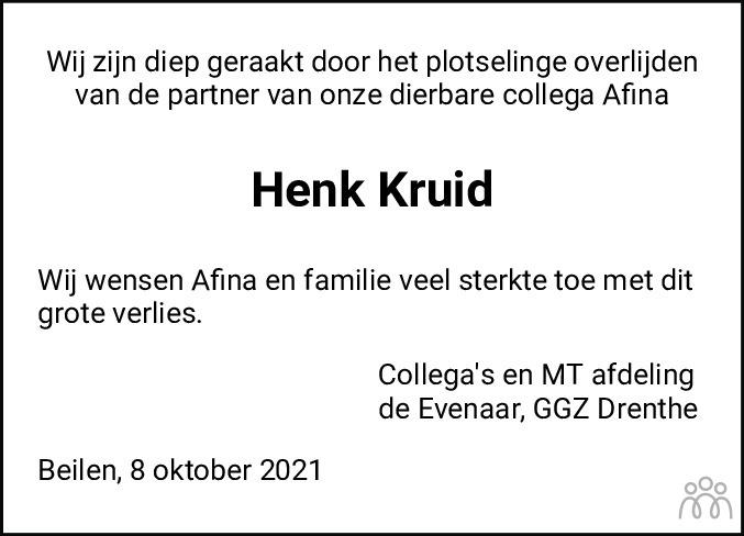 Overlijdensbericht van Hendrik Willem (Henk) Kruid in De krant van Midden-Drenthe