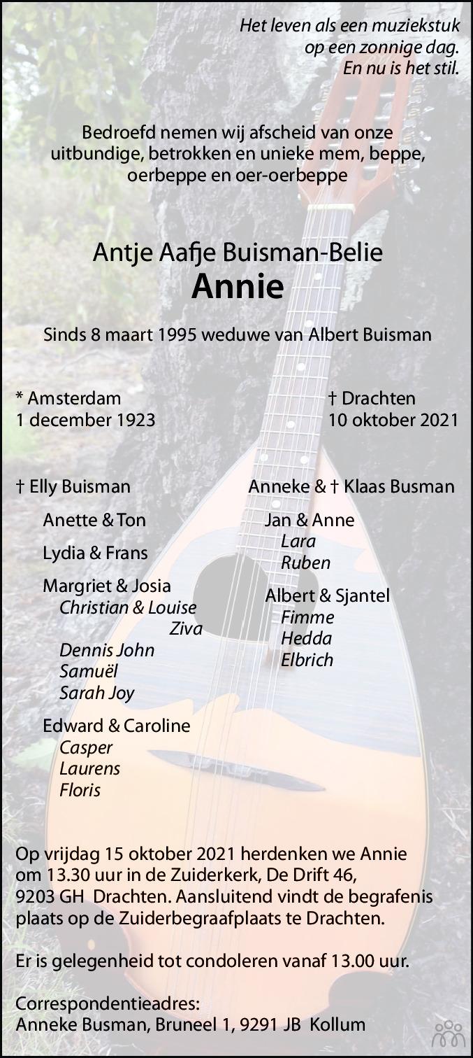 Overlijdensbericht van Antje Aafje (Annie) Buisman-Belie in Leeuwarder Courant