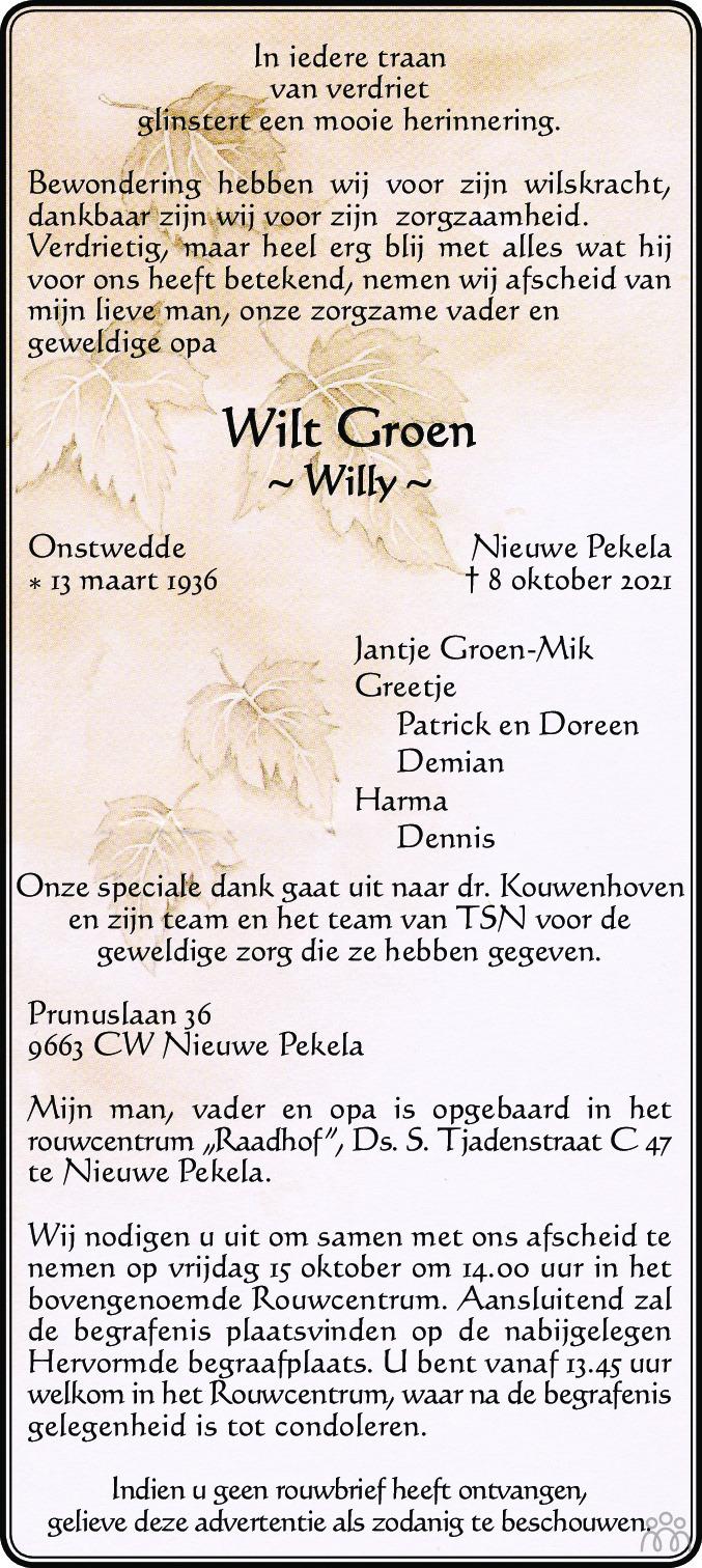 Overlijdensbericht van Wilt (Willy) Groen in Dagblad van het Noorden