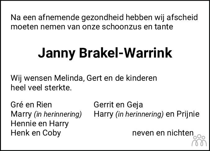 Overlijdensbericht van Janny Gretha Brakel-Warrink in Hoogeveensche Courant