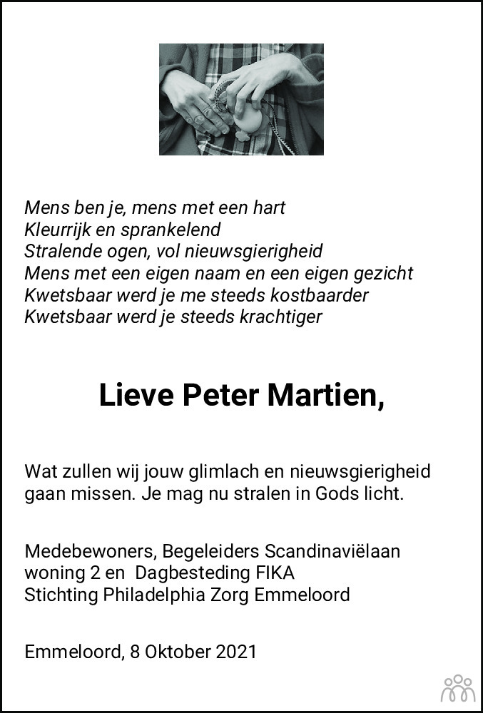 Overlijdensbericht van Peter Martien Spier in Noordoostpolder