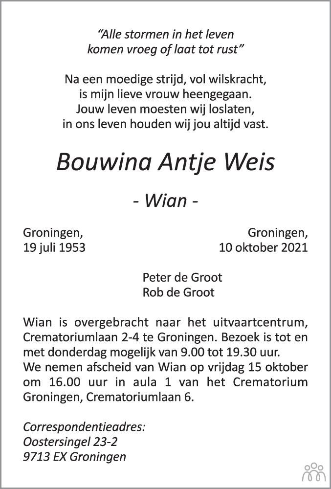 Overlijdensbericht van Bouwina Antje (Wian) Weis in Dagblad van het Noorden
