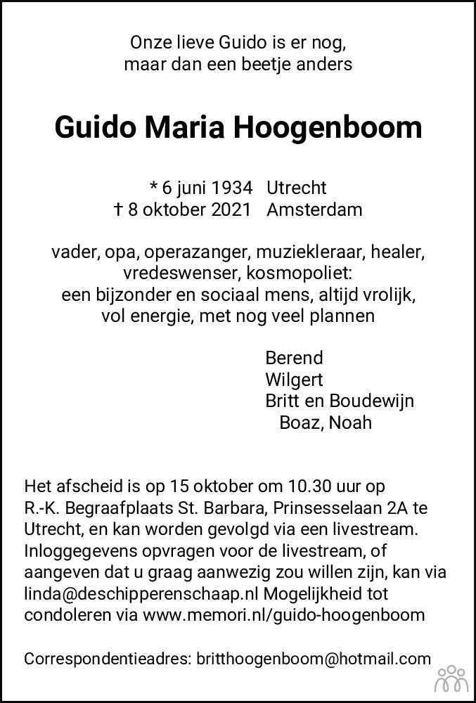 Overlijdensbericht van Guido Maria Hoogenboom in Flevopost Dronten