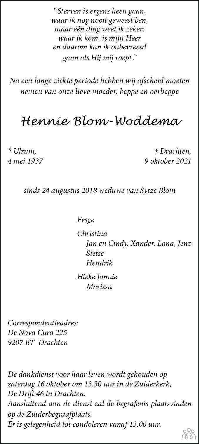 Overlijdensbericht van Hennie Blom-Woddema in Leeuwarder Courant