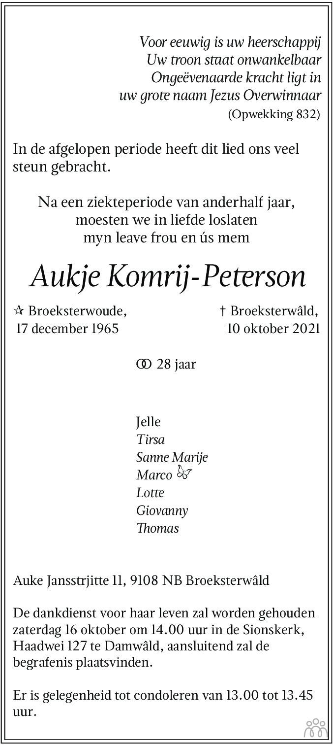 Overlijdensbericht van Aukje Komrij-Peterson in Friesch Dagblad