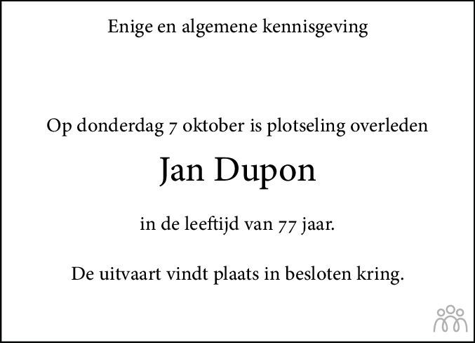 Overlijdensbericht van Jan Dupon in Drachtster Courant