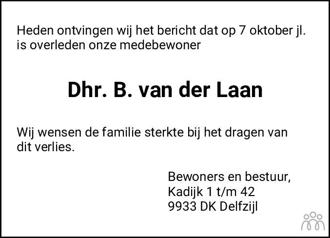 Overlijdensbericht van Berend (Bé) van der Laan in Eemsbode/Noorderkrant