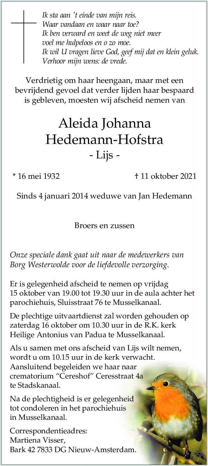 Overlijdensbericht van Aleida Johanna (Lijs) Hedemann-Hofstra in Kanaalstreek Ter Apeler Courant