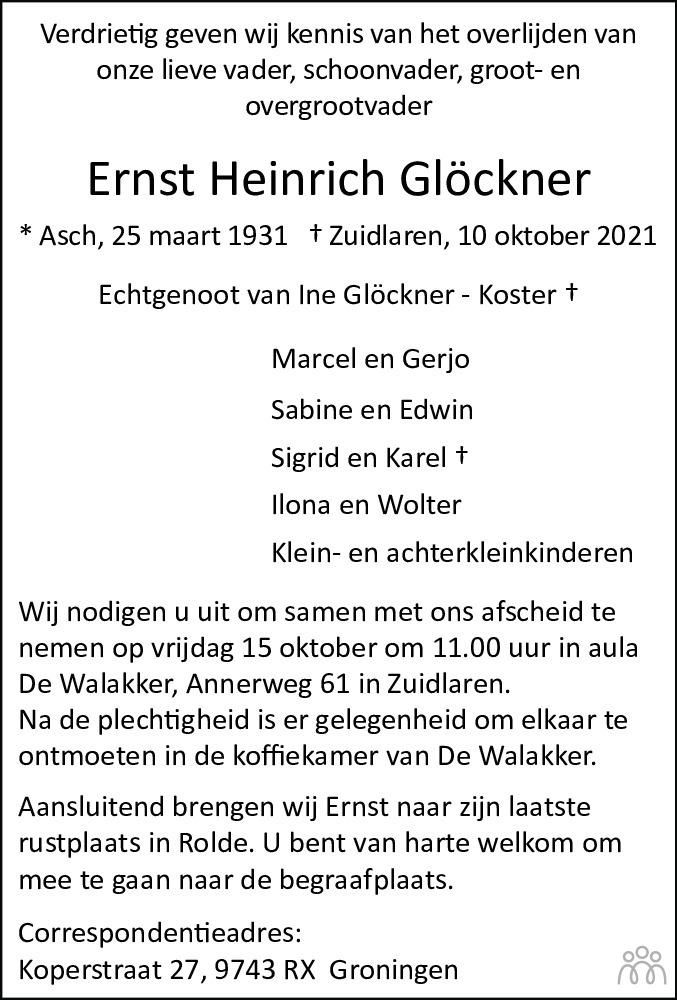 Overlijdensbericht van Ernst Heinrich Glöckner in Dagblad van het Noorden