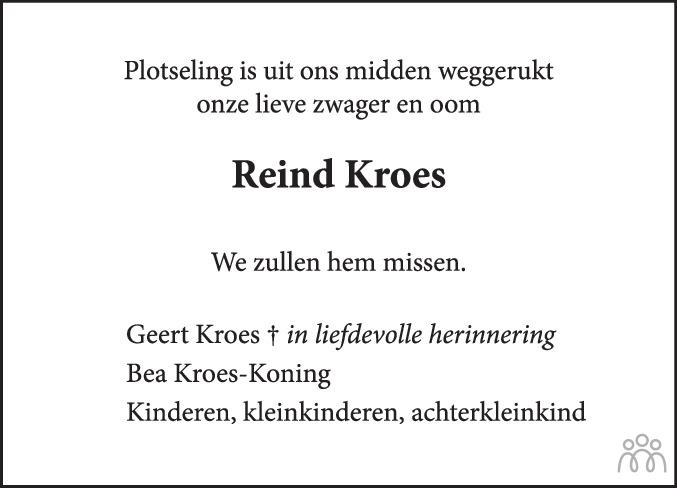 Overlijdensbericht van Reine Kroes in Eemsbode/Noorderkrant