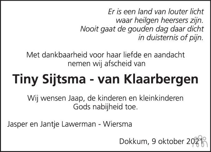 Overlijdensbericht van Trijntje (Tiny) Sijtsma-van Klaarbergen in Dockumer Courant