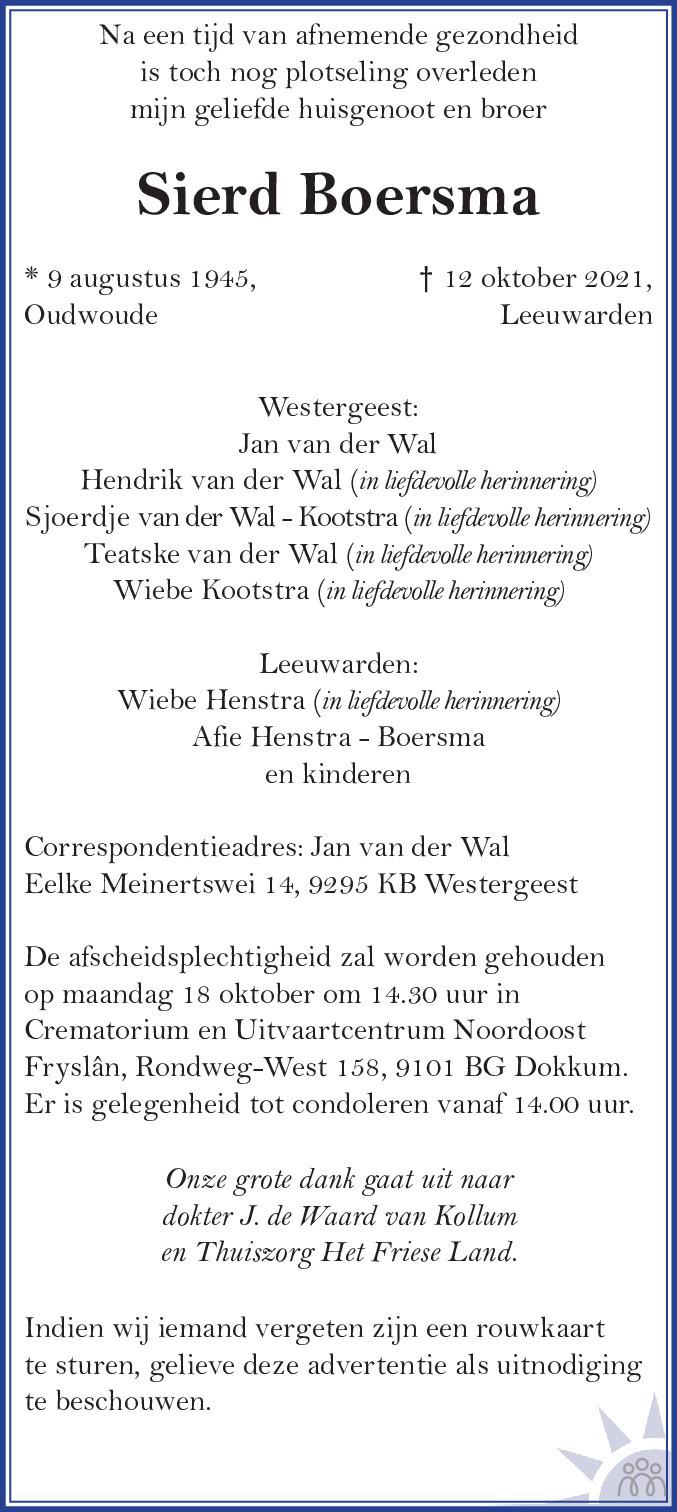 Overlijdensbericht van Sierd Boersma in Leeuwarder Courant