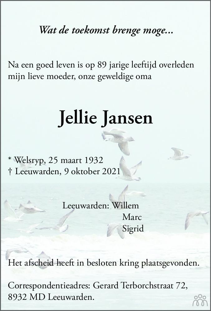 Overlijdensbericht van Jellie Jansen in Leeuwarder Courant