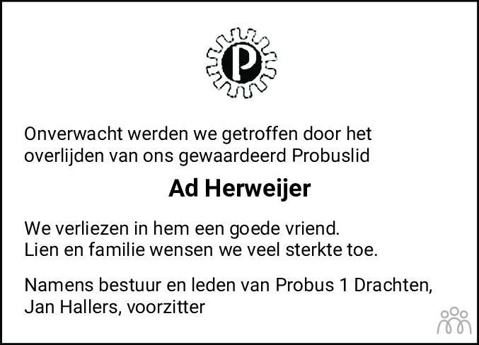Overlijdensbericht van Adriaan (Ad) Herweijer in Drachtster Courant