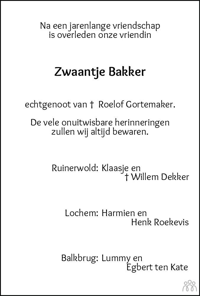 Overlijdensbericht van Zwaantje Grietje Gortemaker-Bakker in Meppeler Courant