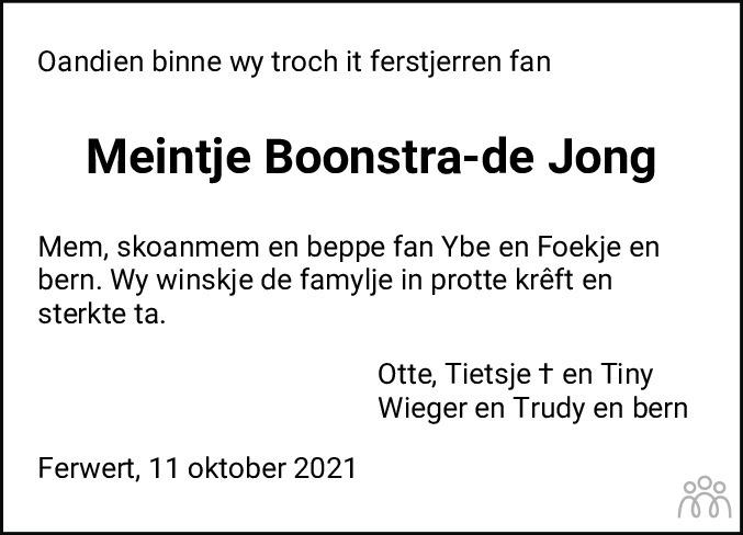 Overlijdensbericht van Meintje Boonstra-de Jong in Dockumer Courant