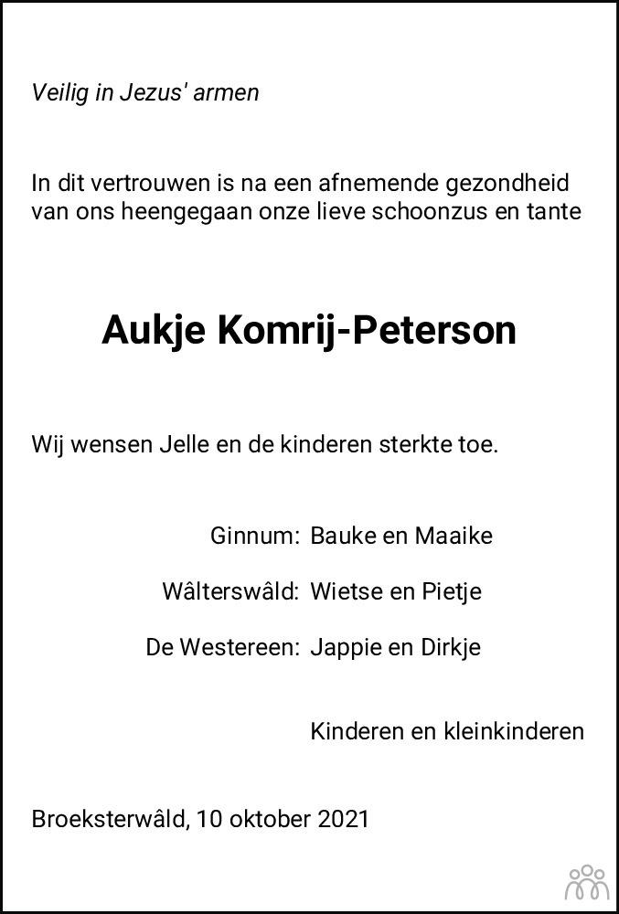 Overlijdensbericht van Aukje Komrij-Peterson in Dockumer Courant