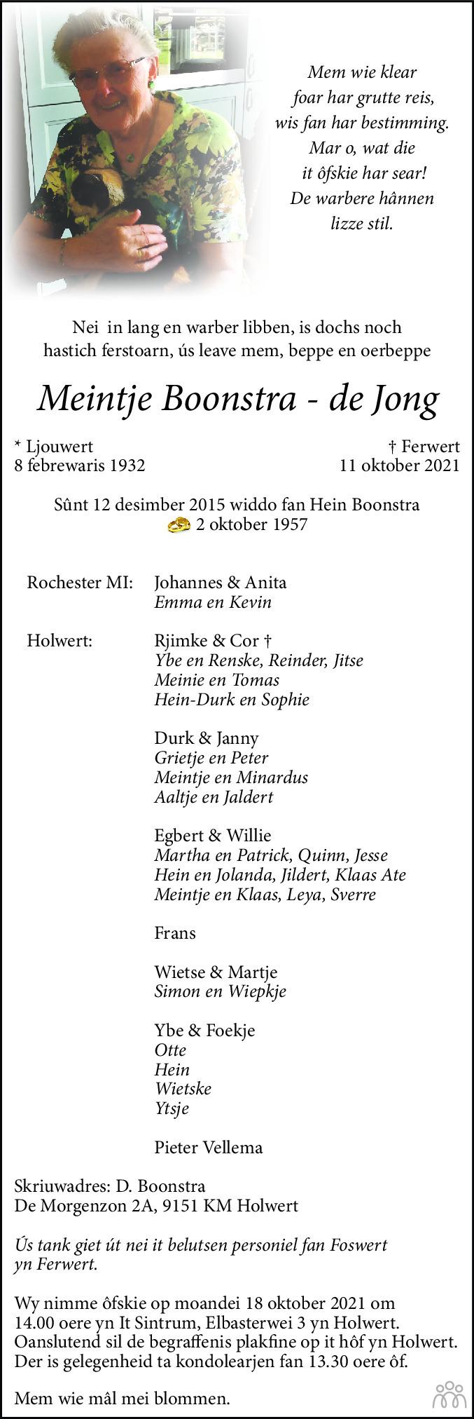 Overlijdensbericht van Meintje Boonstra-de Jong in Leeuwarder Courant