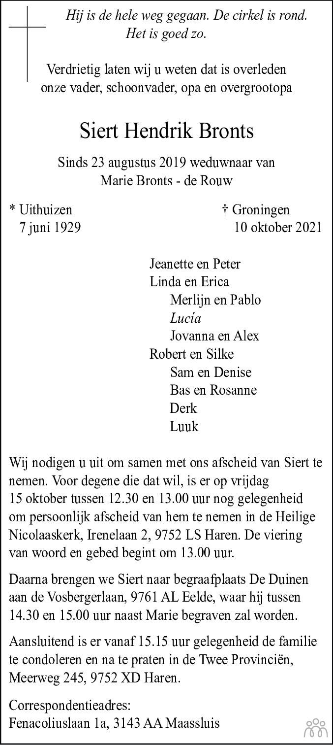 Overlijdensbericht van Siert Hendrik Bronts in Dagblad van het Noorden