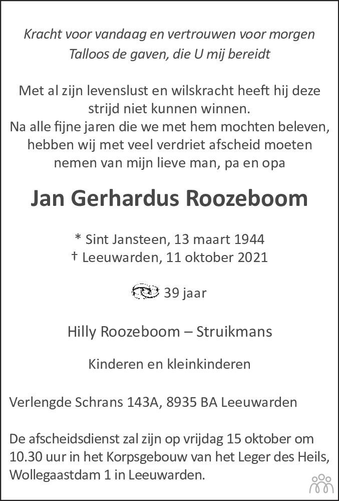 Overlijdensbericht van Jan Gerhardus Roozeboom in Leeuwarder Courant