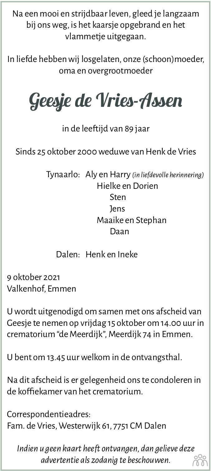 Overlijdensbericht van Geesje de Vries-Assen in Dagblad van het Noorden