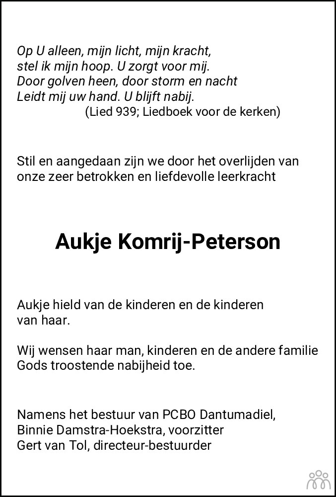 Overlijdensbericht van Aukje Komrij-Peterson in Leeuwarder Courant
