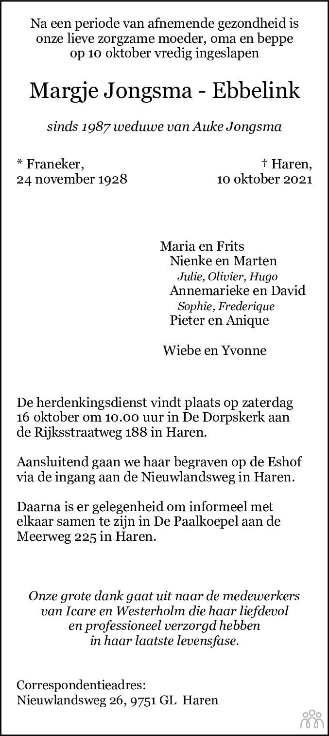 Overlijdensbericht van Margje Jongsma-Ebbelink in Dagblad van het Noorden