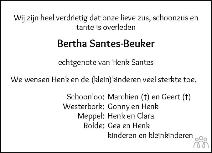 Overlijdensbericht van Alberta (Bertha) Santes-Beuker in Dagblad van het Noorden