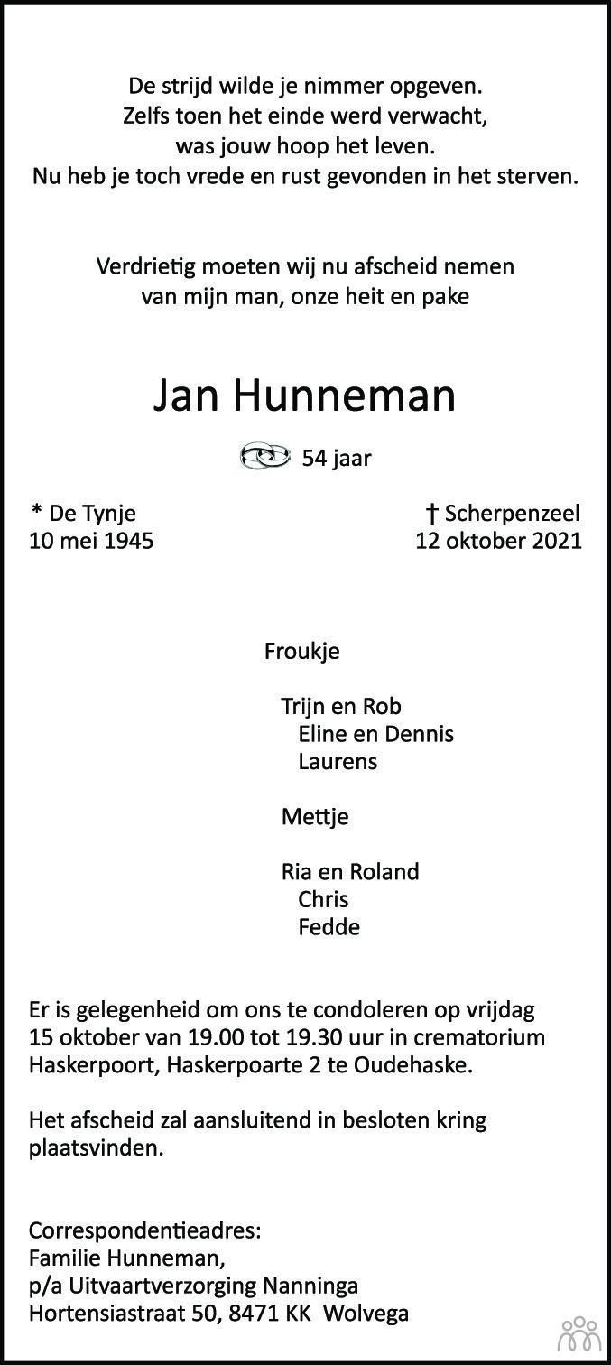 Overlijdensbericht van Jan Hunneman in Leeuwarder Courant