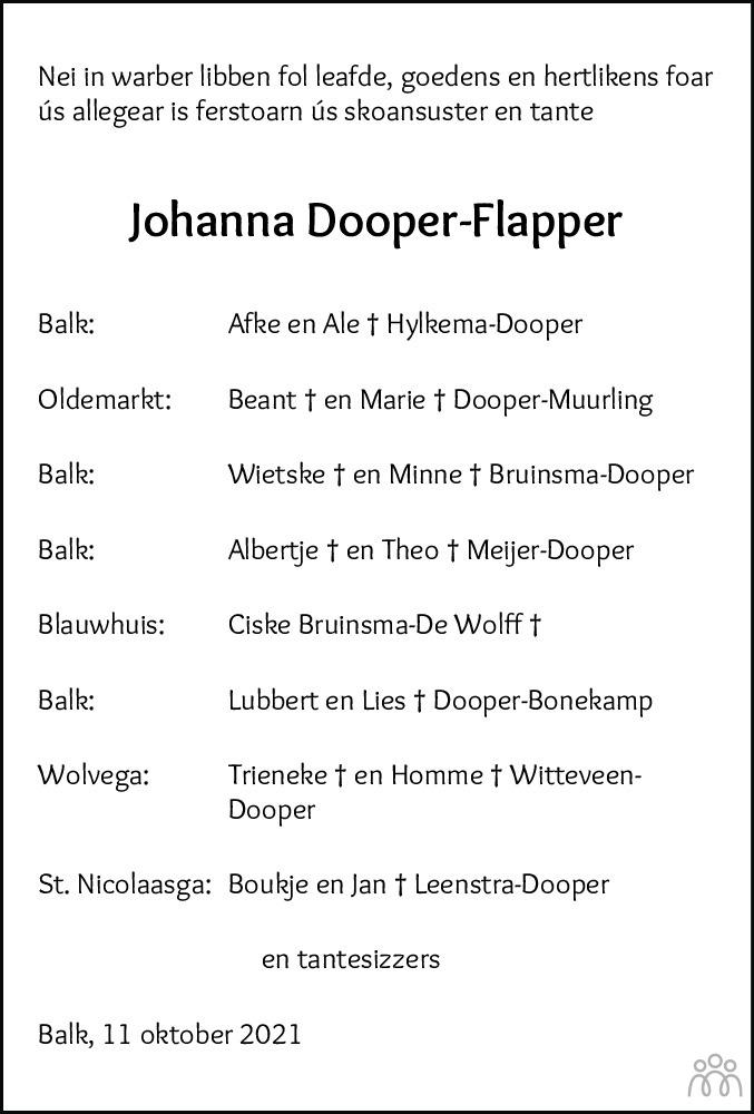 Overlijdensbericht van Johanna Dooper-Flapper in Leeuwarder Courant
