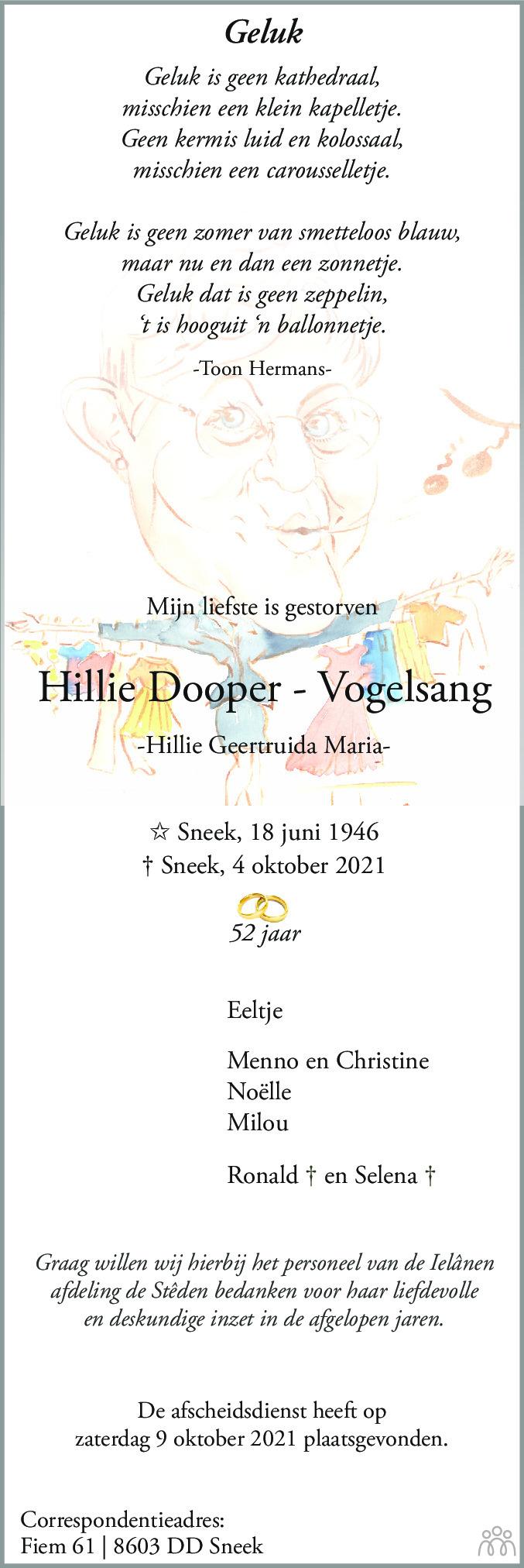 Overlijdensbericht van Hillie (Hillie Geertruida Maria) Dooper-Vogelsang in Sneeker Nieuwsblad