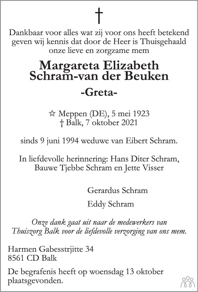 Overlijdensbericht van Margareta Elizabeth (Greta) Schram-van der Beuken in Balkster Courant