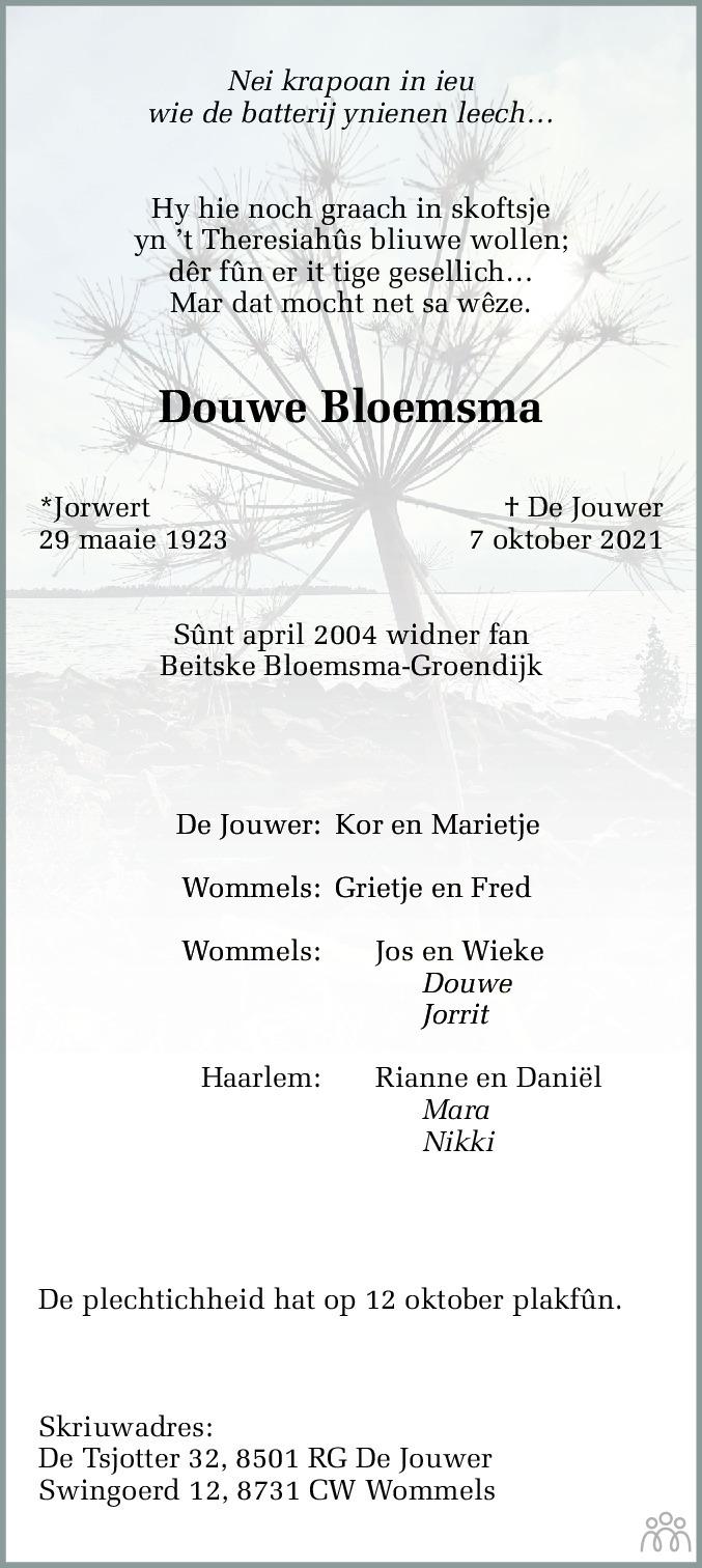 Overlijdensbericht van Douwe Bloemsma in Jouster Courant Zuid Friesland