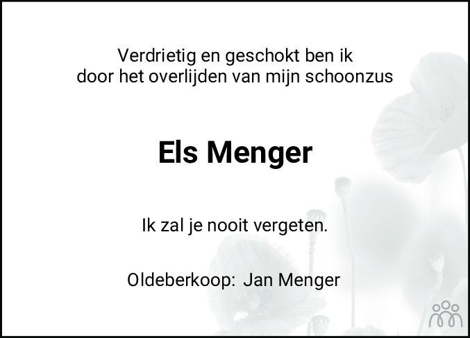 Overlijdensbericht van Elsje Menger-de Jong in Nieuwe Ooststellingwerver
