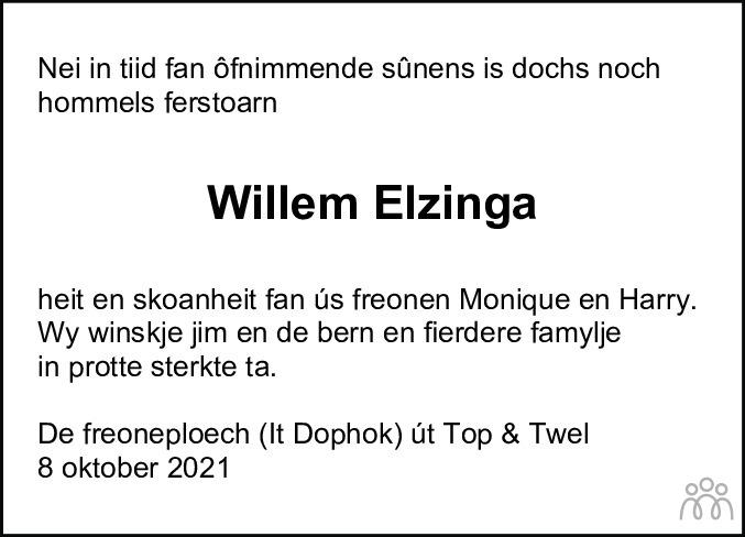 Overlijdensbericht van Willem Elzinga in Jouster Courant Zuid Friesland