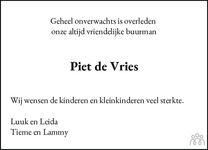 Overlijdensbericht van Pieter Douwe (Piet) de Vries in De Stellingwerf