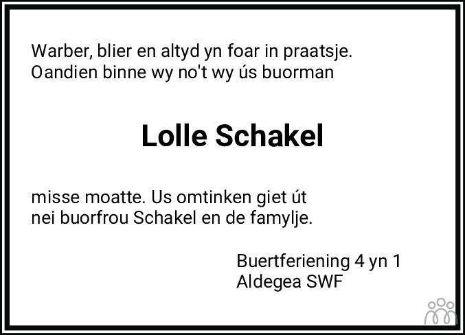 Overlijdensbericht van Lolle Schakel in Sneeker Nieuwsblad
