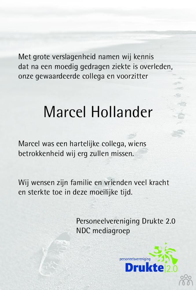 Overlijdensbericht van Robert Marcel Maurice (Marcel) Hollander in Dagblad van het Noorden