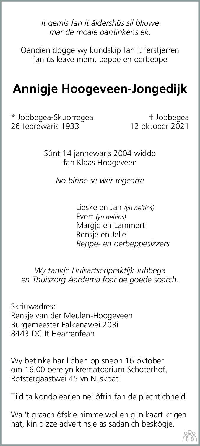 Overlijdensbericht van Annigje Hoogeveen-Jongedijk in Leeuwarder Courant