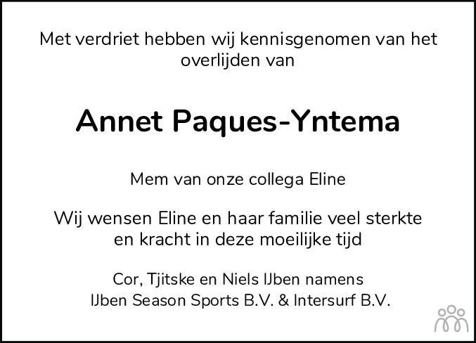Overlijdensbericht van Annet (Anna Martha Maria) Paques-Yntema in Jouster Courant Zuid Friesland