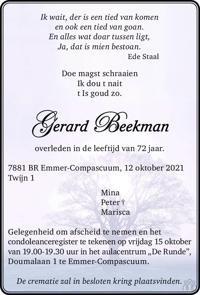 Overlijdensbericht van Gerard Beekman in Dagblad van het Noorden