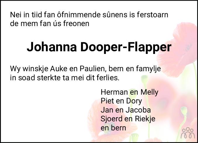Overlijdensbericht van Johanna Dooper-Flapper in Balkster Courant
