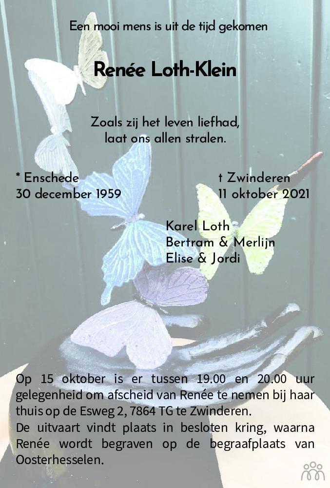 Overlijdensbericht van Renée Loth-Klein in Dagblad van het Noorden