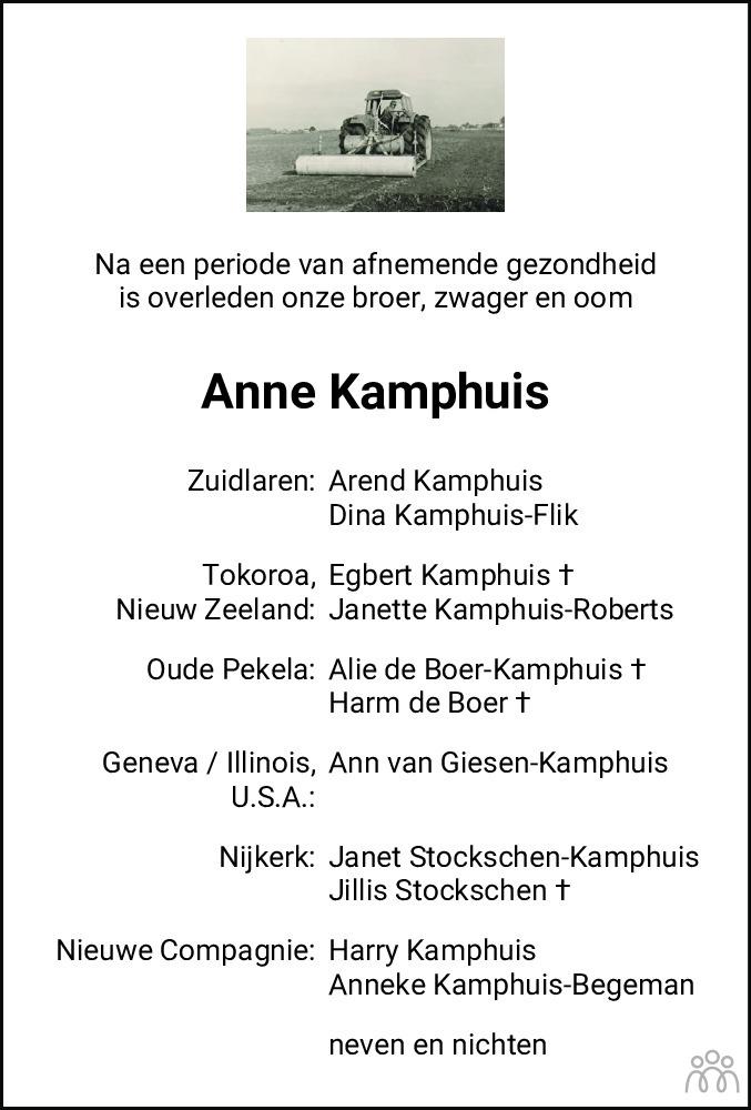 Overlijdensbericht van Anno (Anne) Kamphuis in Dagblad van het Noorden